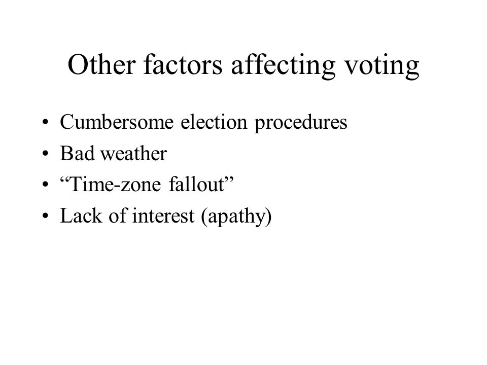 Other factors affecting voting