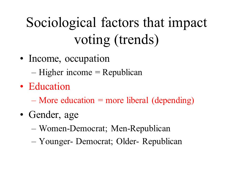 Sociological factors that impact voting (trends)