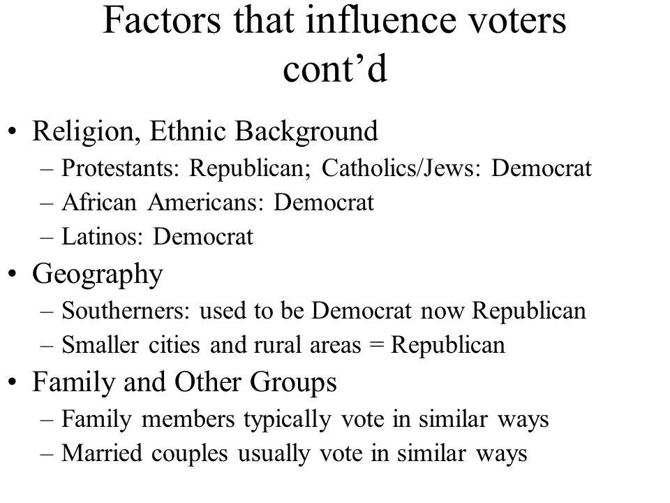 Factors that influence voters cont'd