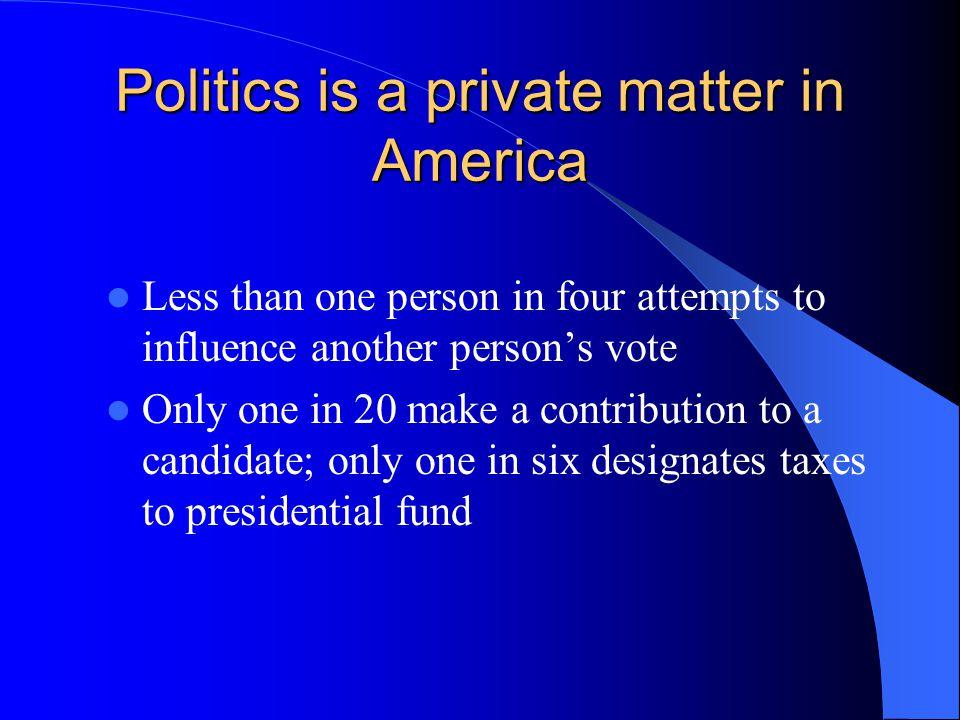 Politics is a private matter in America