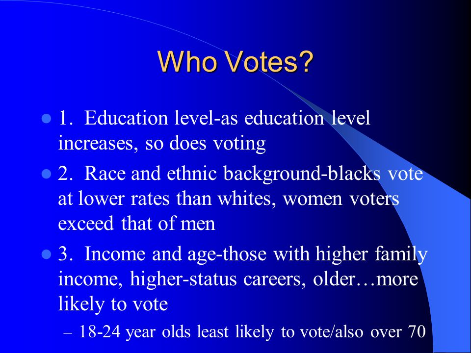 Who Votes 1. Education level-as education level increases, so does voting.