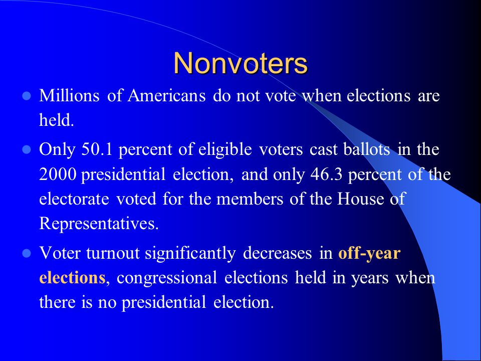 Nonvoters Millions of Americans do not vote when elections are held.