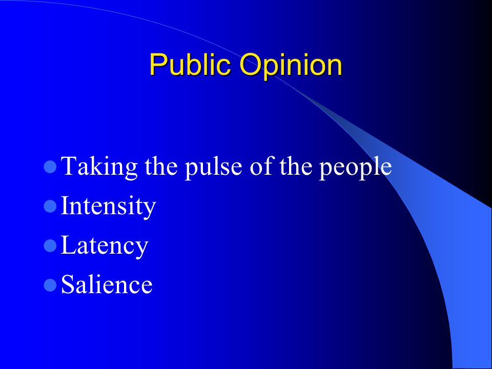 Public Opinion Taking the pulse of the people Intensity Latency
