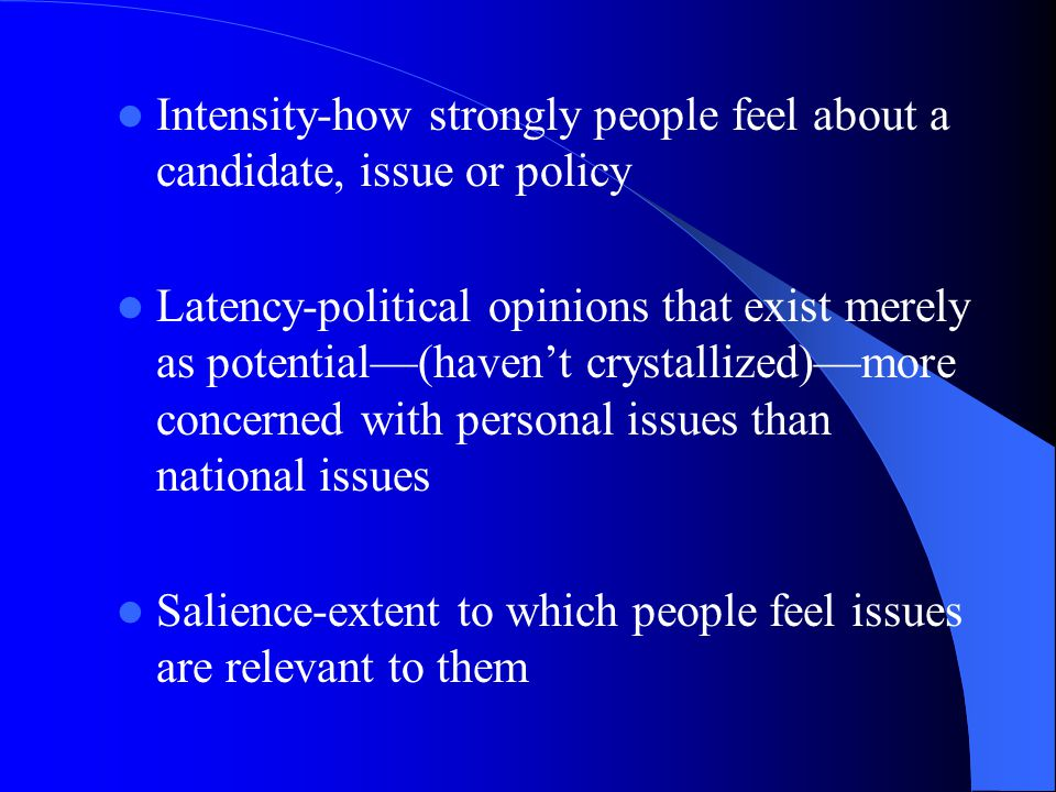 Intensity-how strongly people feel about a candidate, issue or policy