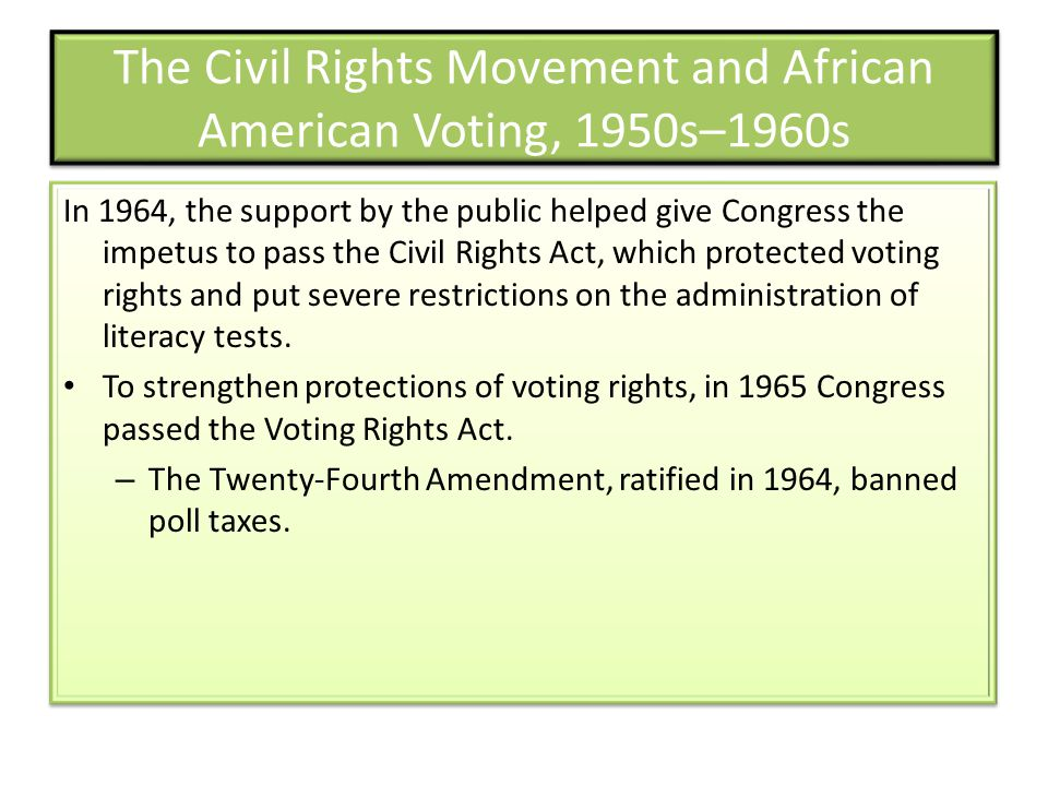 The Civil Rights Movement and African American Voting, 1950s–1960s