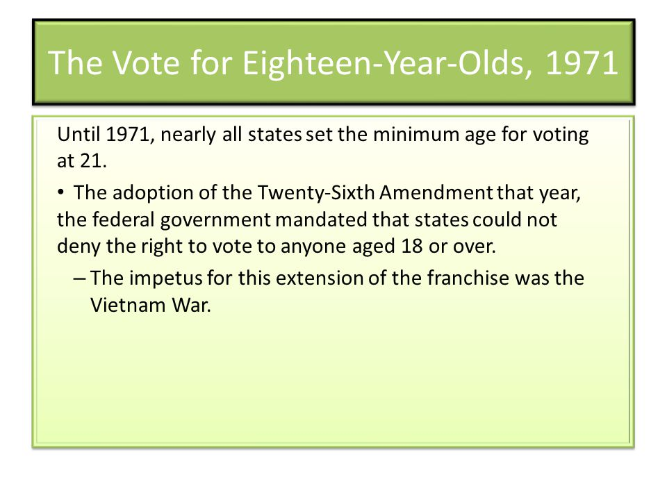 The Vote for Eighteen-Year-Olds, 1971