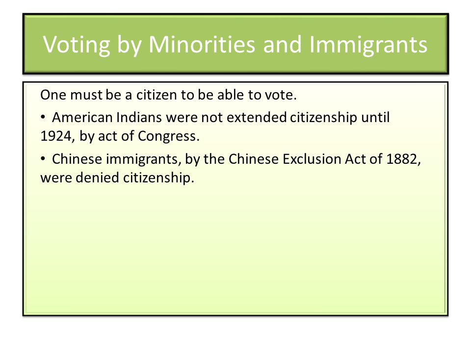 Voting by Minorities and Immigrants