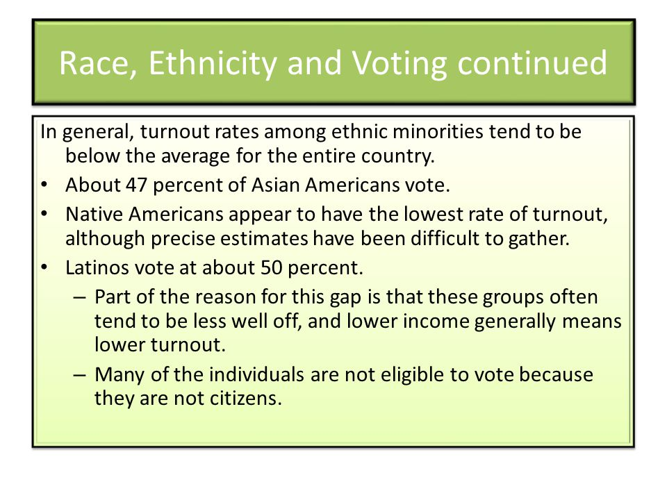 Race, Ethnicity and Voting continued