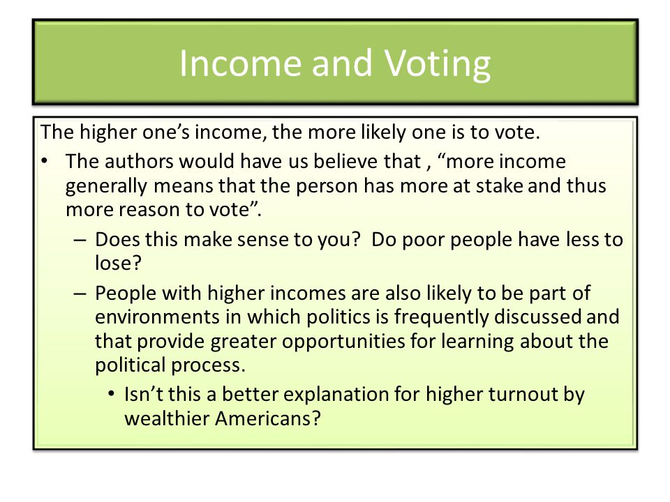 Income and Voting The higher one's income, the more likely one is to vote.
