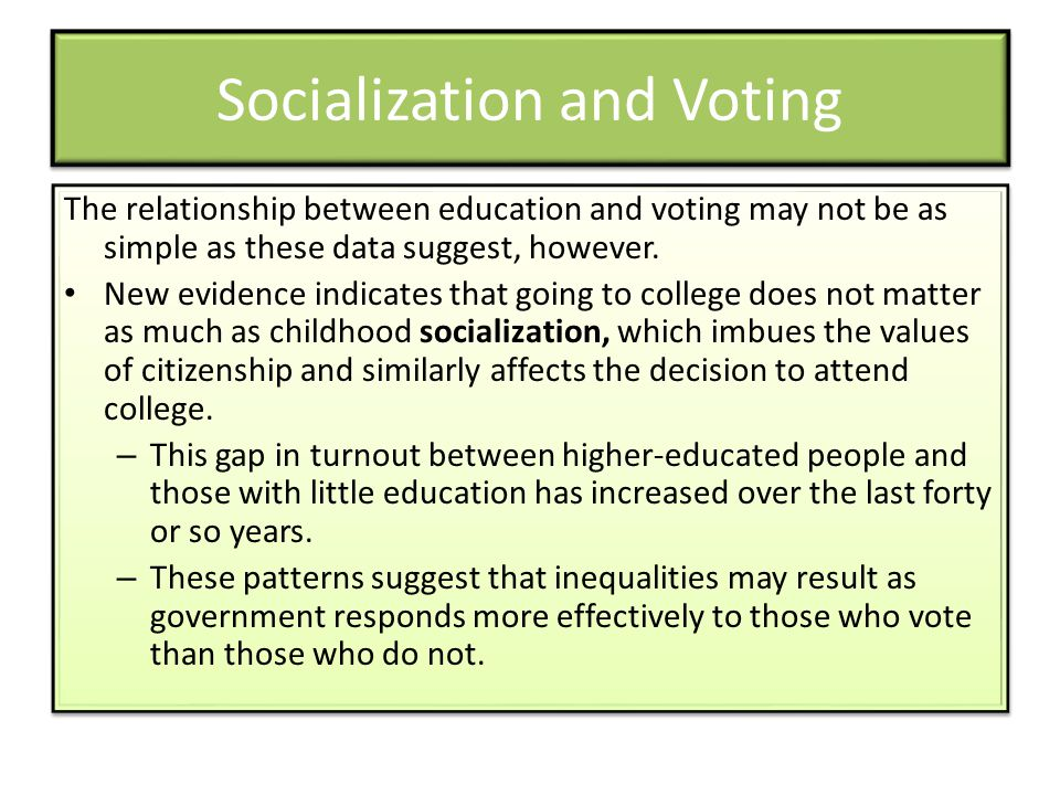 Socialization and Voting