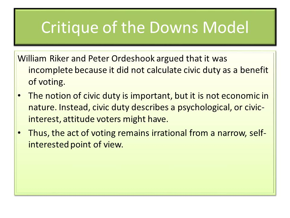 Critique of the Downs Model