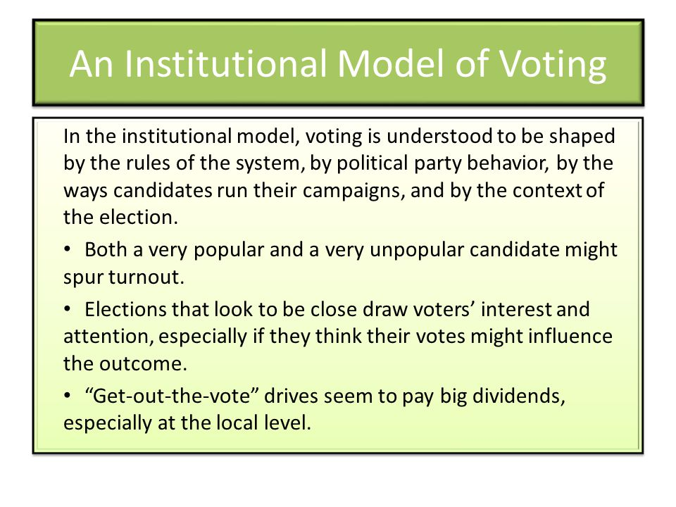 An Institutional Model of Voting