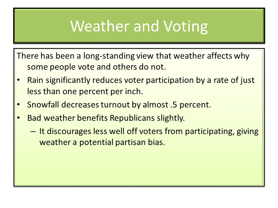 Weather and Voting There has been a long-standing view that weather affects why some people vote and others do not.