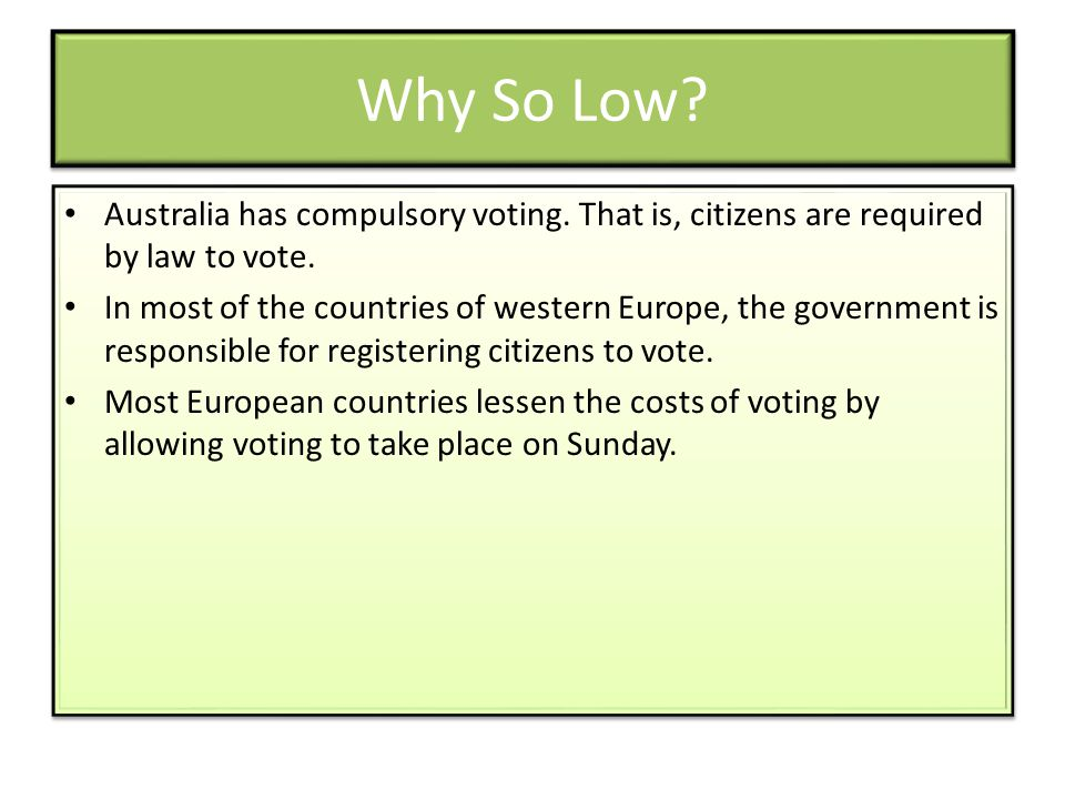 Why So Low Australia has compulsory voting. That is, citizens are required by law to vote.
