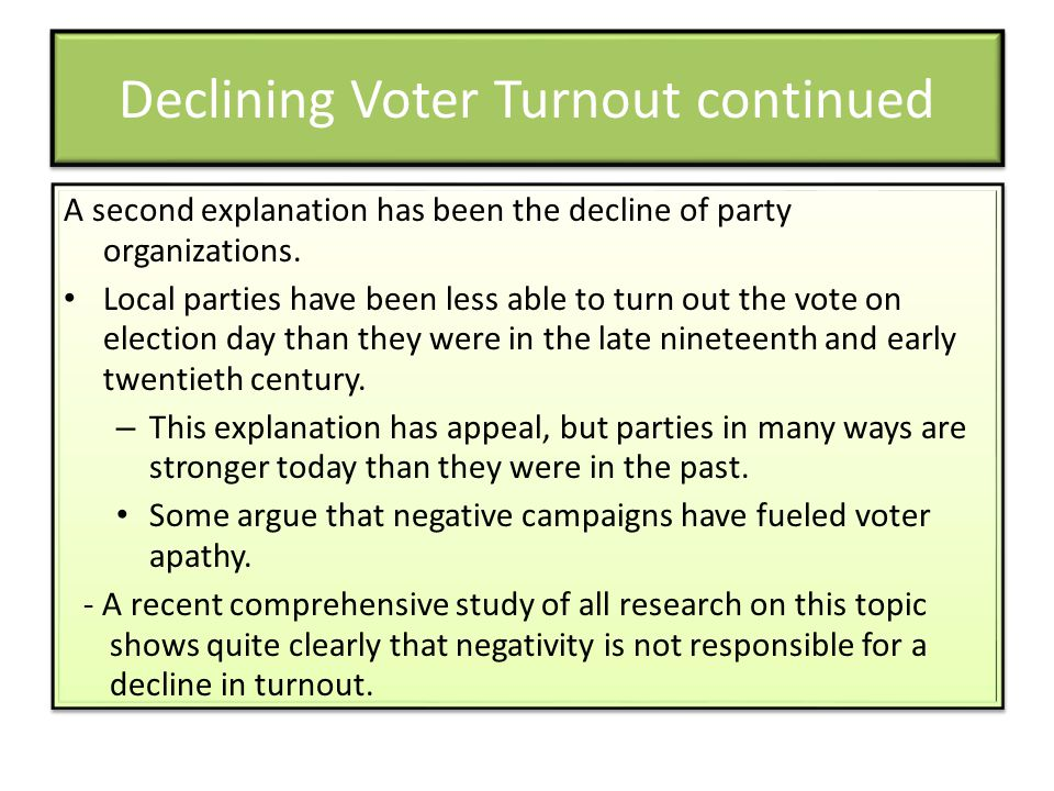 Declining Voter Turnout continued