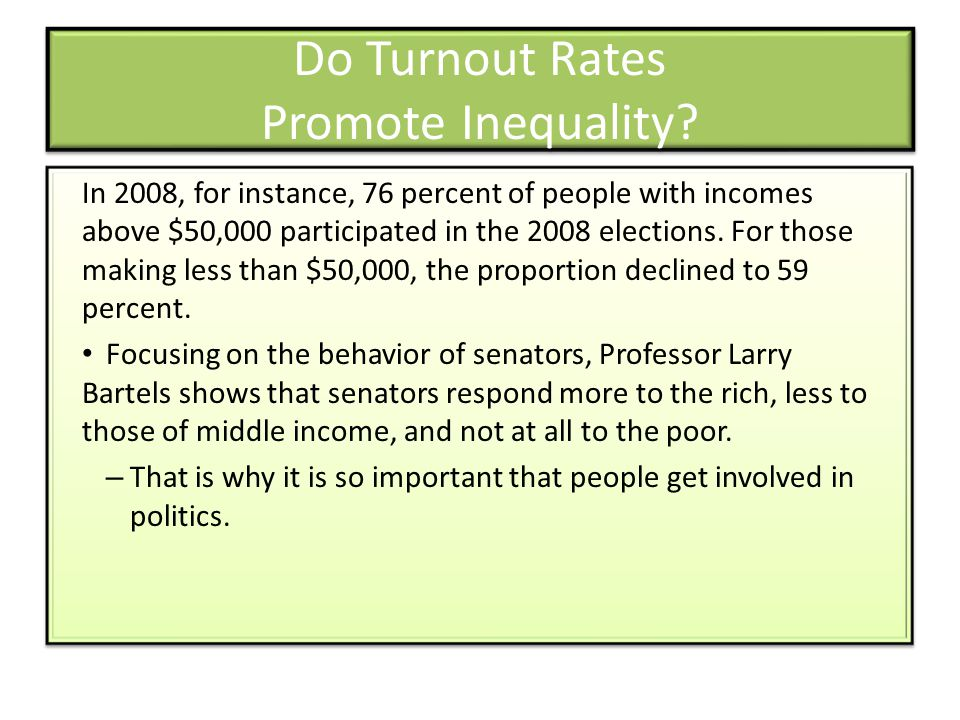 Do Turnout Rates Promote Inequality