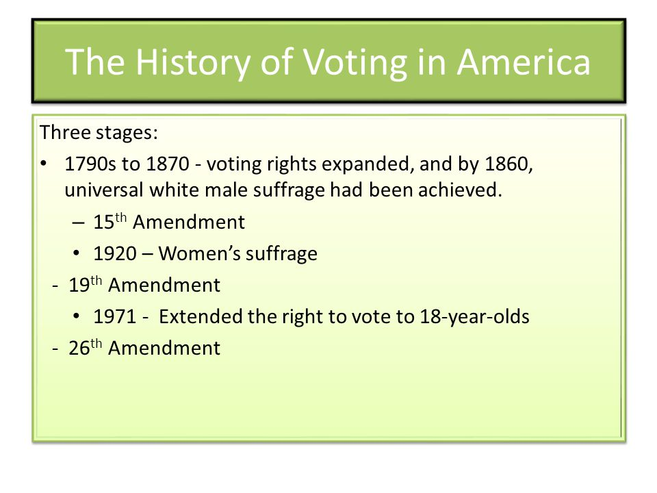 The History of Voting in America