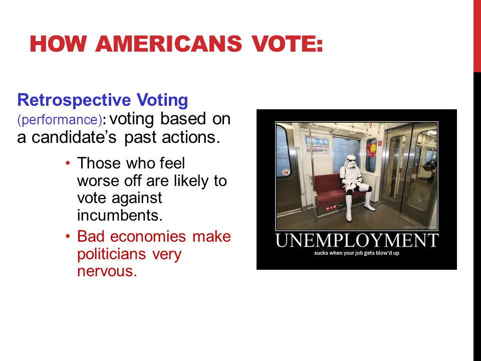 How Americans Vote: Retrospective Voting (performance): voting based on a candidate's past actions.