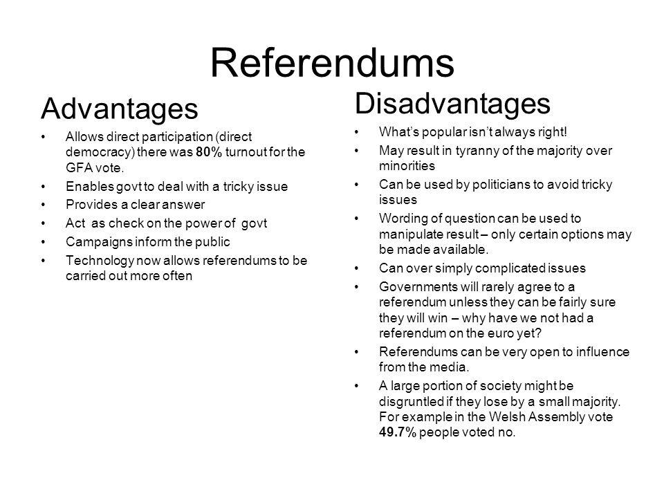 Referendums Disadvantages Advantages