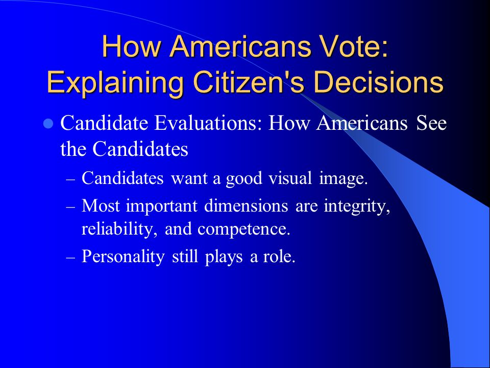 How Americans Vote: Explaining Citizen s Decisions