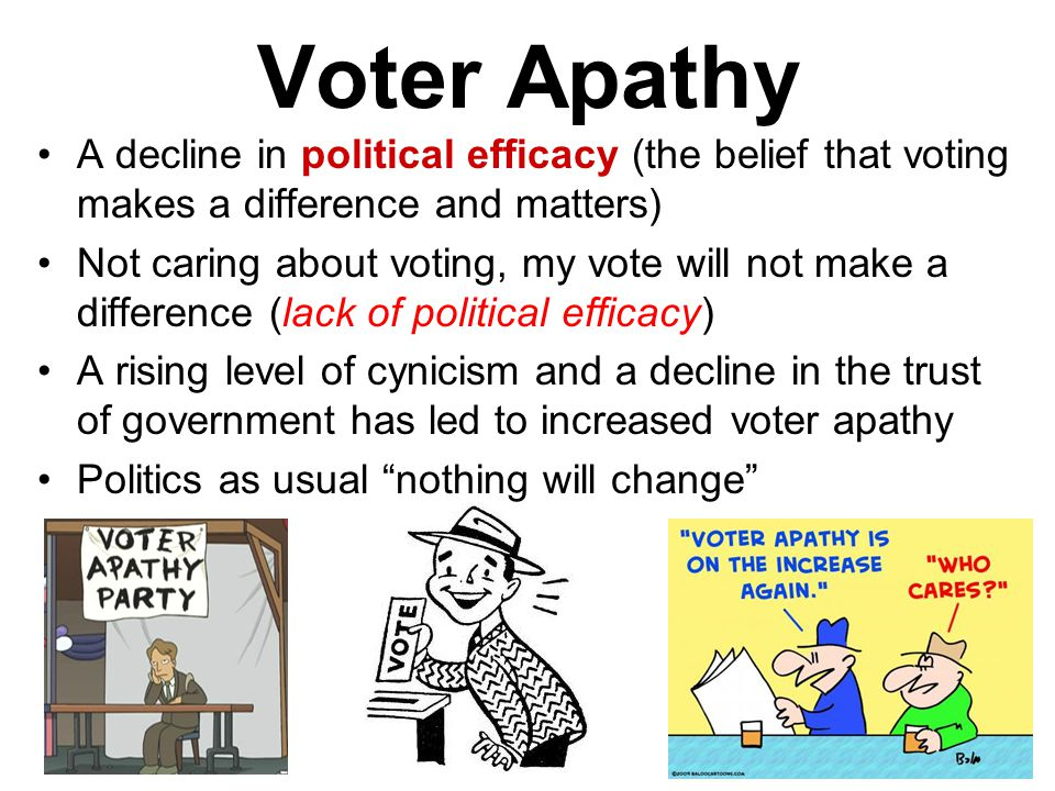 Voter Apathy A decline in political efficacy (the belief that voting makes a difference and matters)