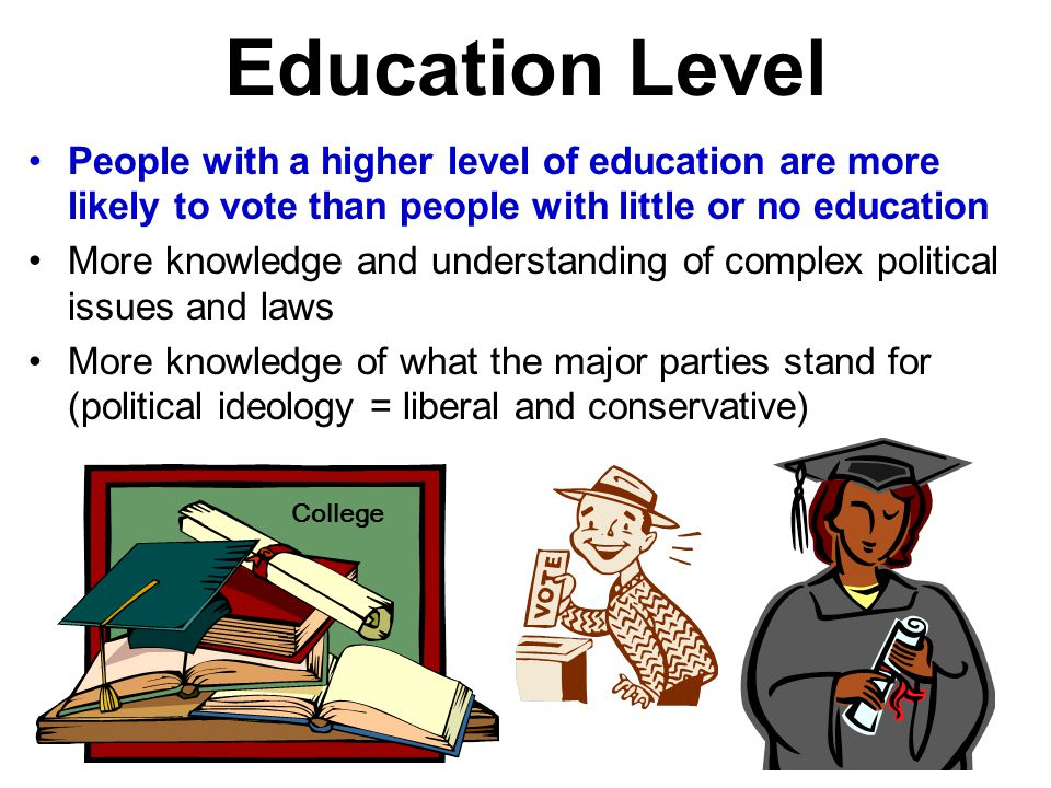 Education Level People with a higher level of education are more likely to vote than people with little or no education.