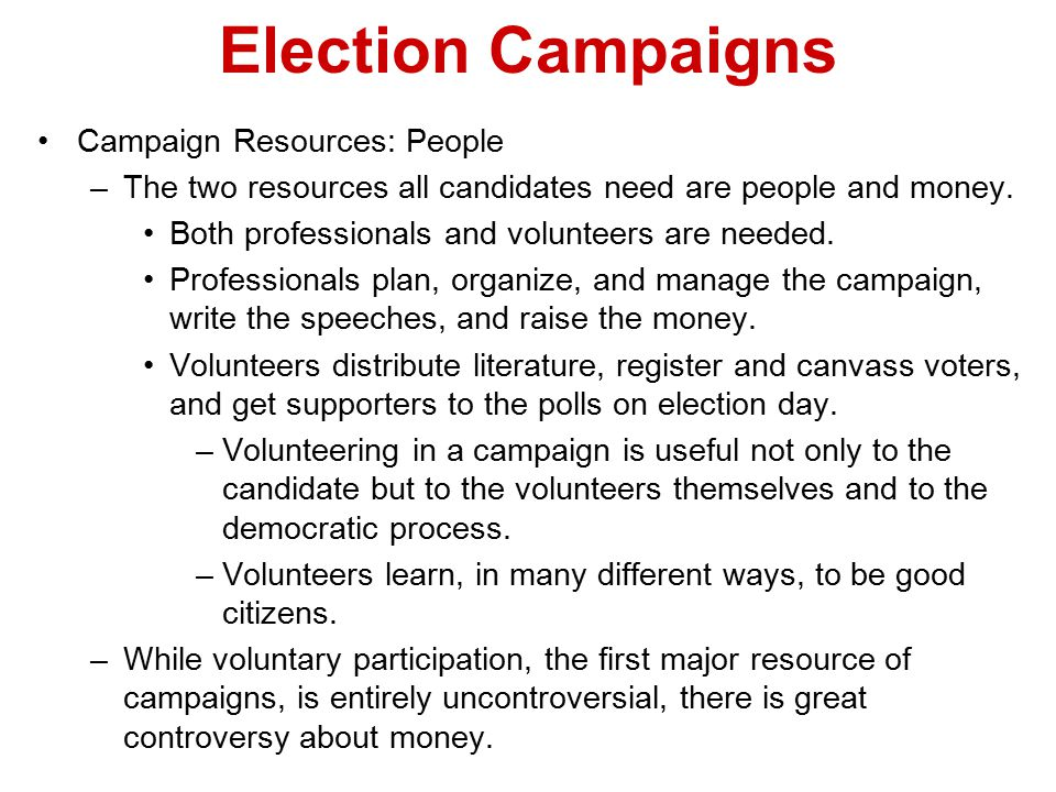 Election Campaigns Campaign Resources: People