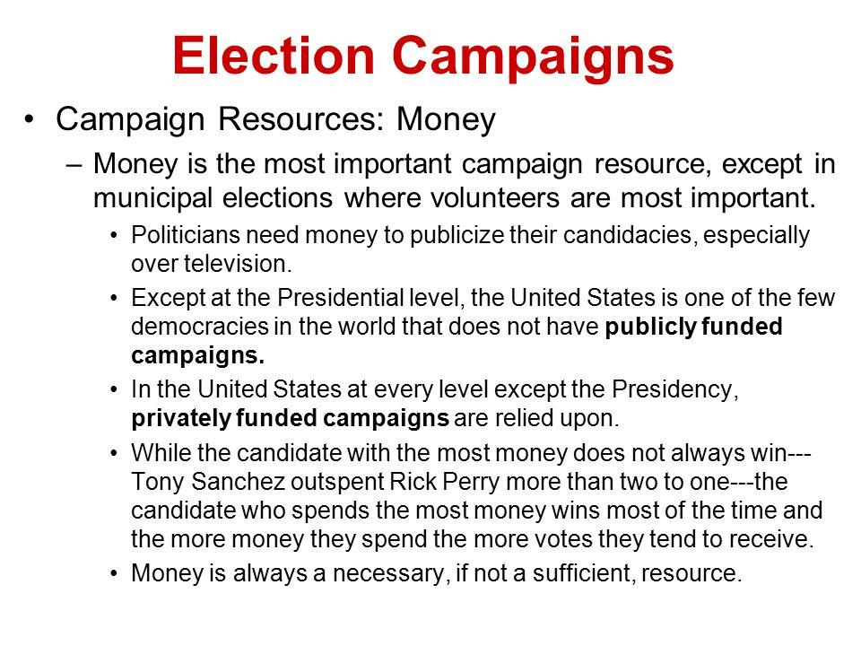 Election Campaigns Campaign Resources: Money