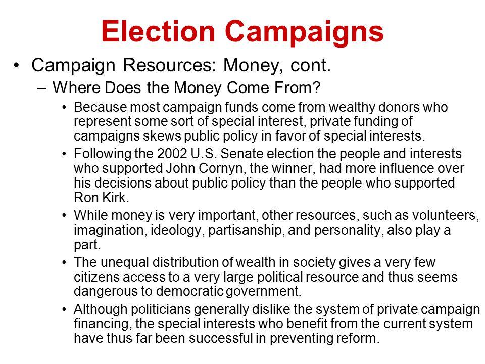 Election Campaigns Campaign Resources: Money, cont.