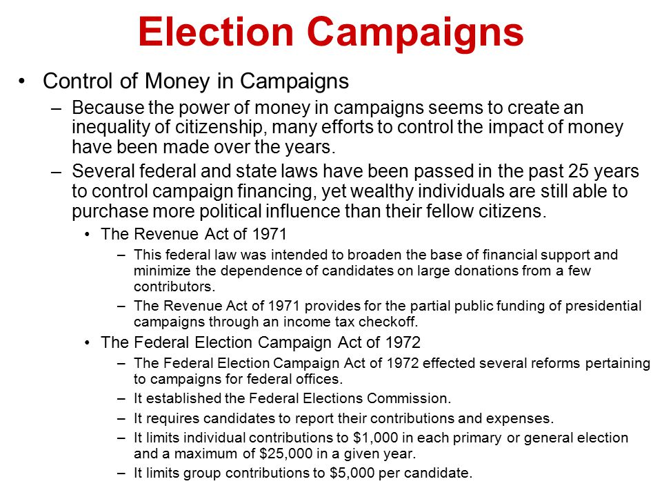 Election Campaigns Control of Money in Campaigns
