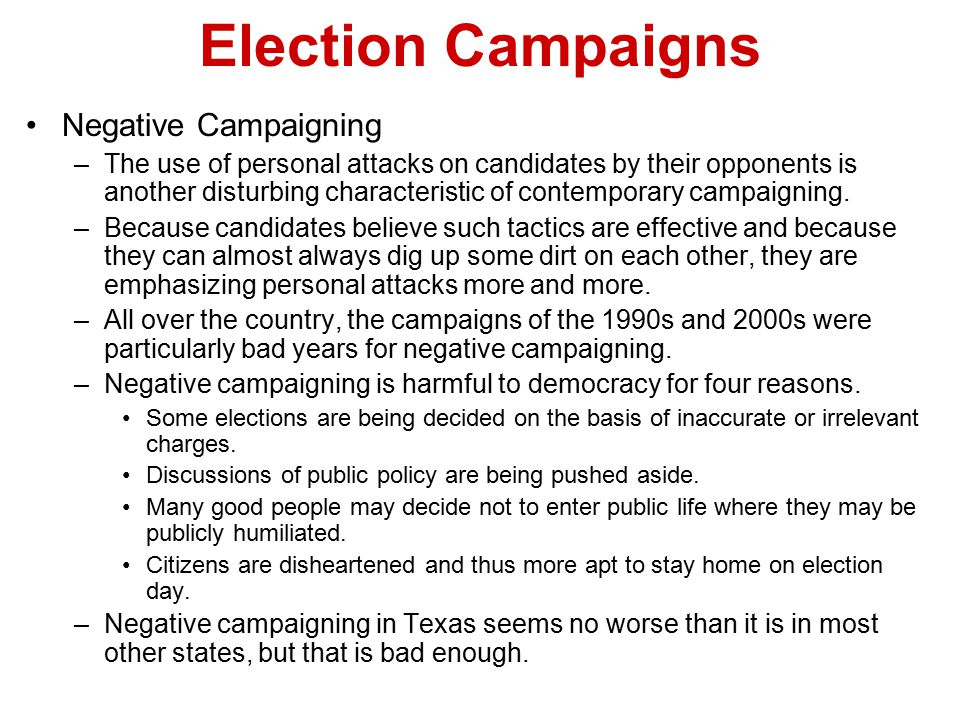 Election Campaigns Negative Campaigning