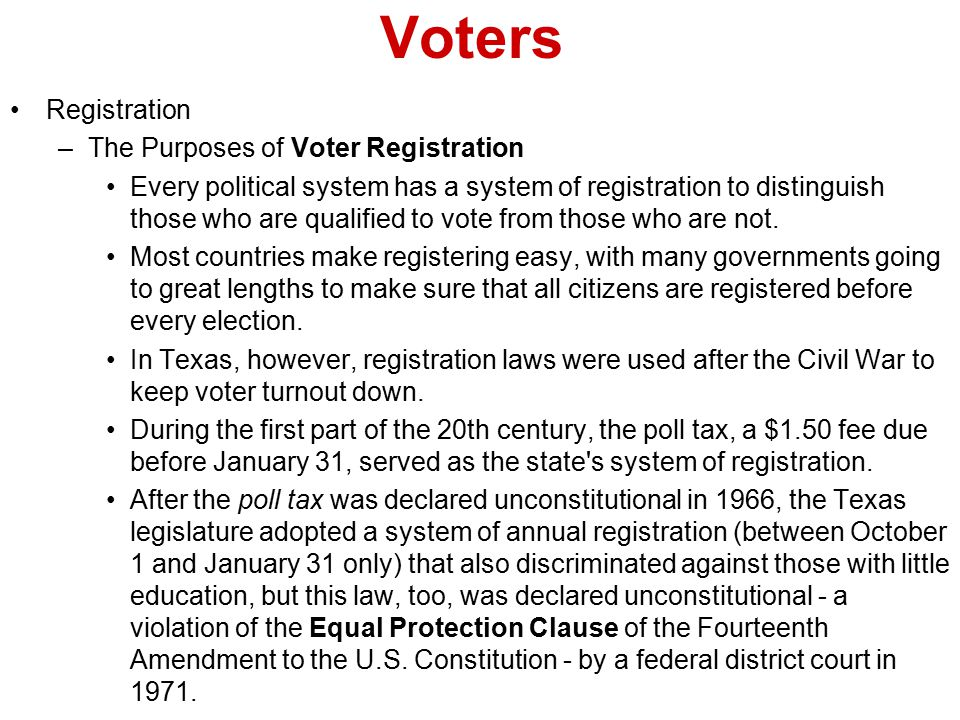 Voters Registration The Purposes of Voter Registration