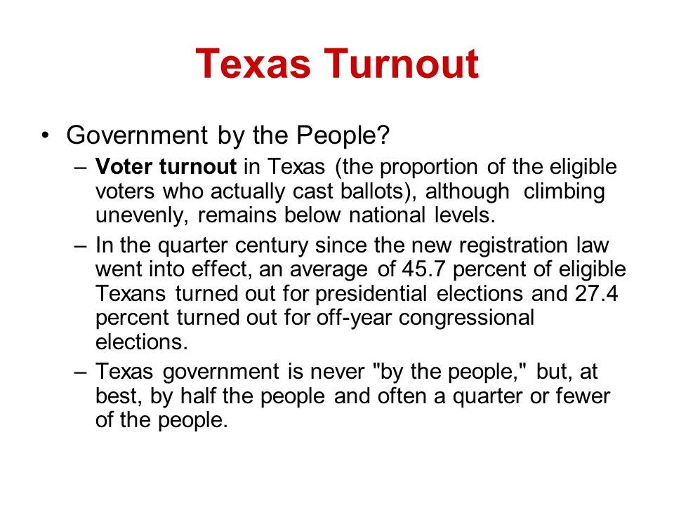 Texas Turnout Government by the People