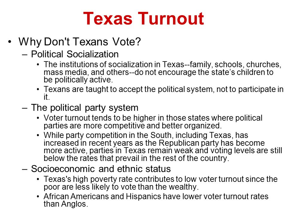 Texas Turnout Why Don t Texans Vote Political Socialization