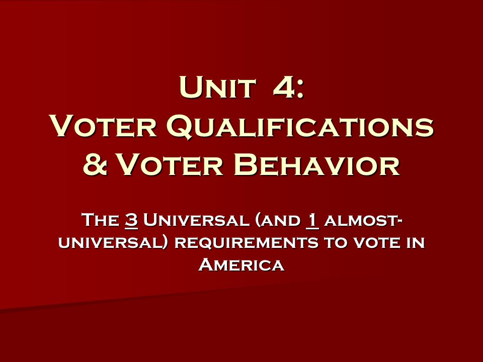 Unit 4: Voter Qualifications & Voter Behavior