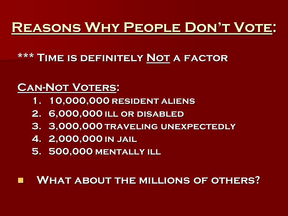 Reasons Why People Don't Vote: