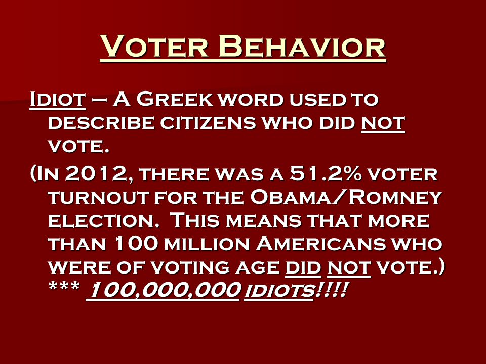 Voter Behavior Idiot – A Greek word used to describe citizens who did not vote.