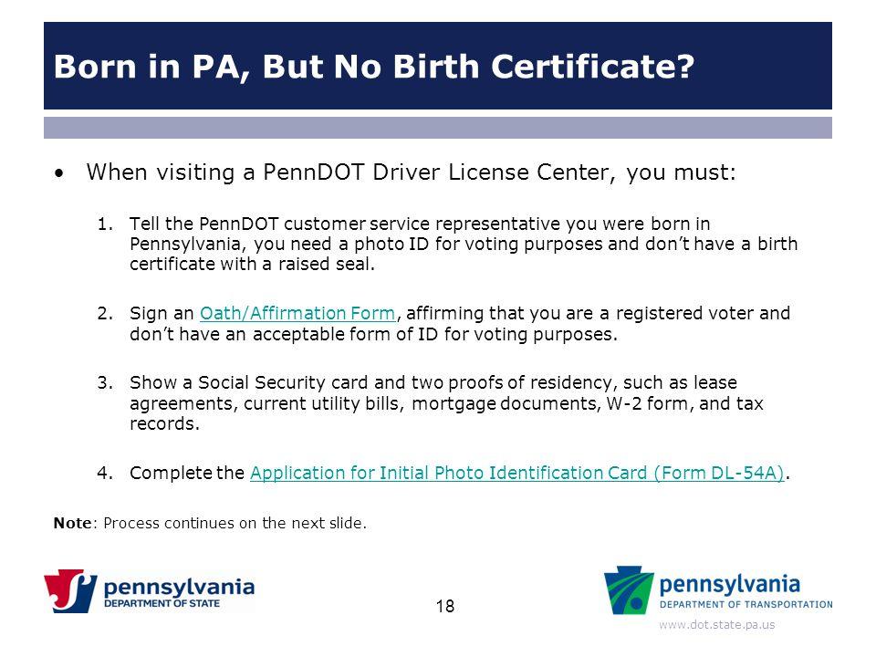 Born in PA, But No Birth Certificate