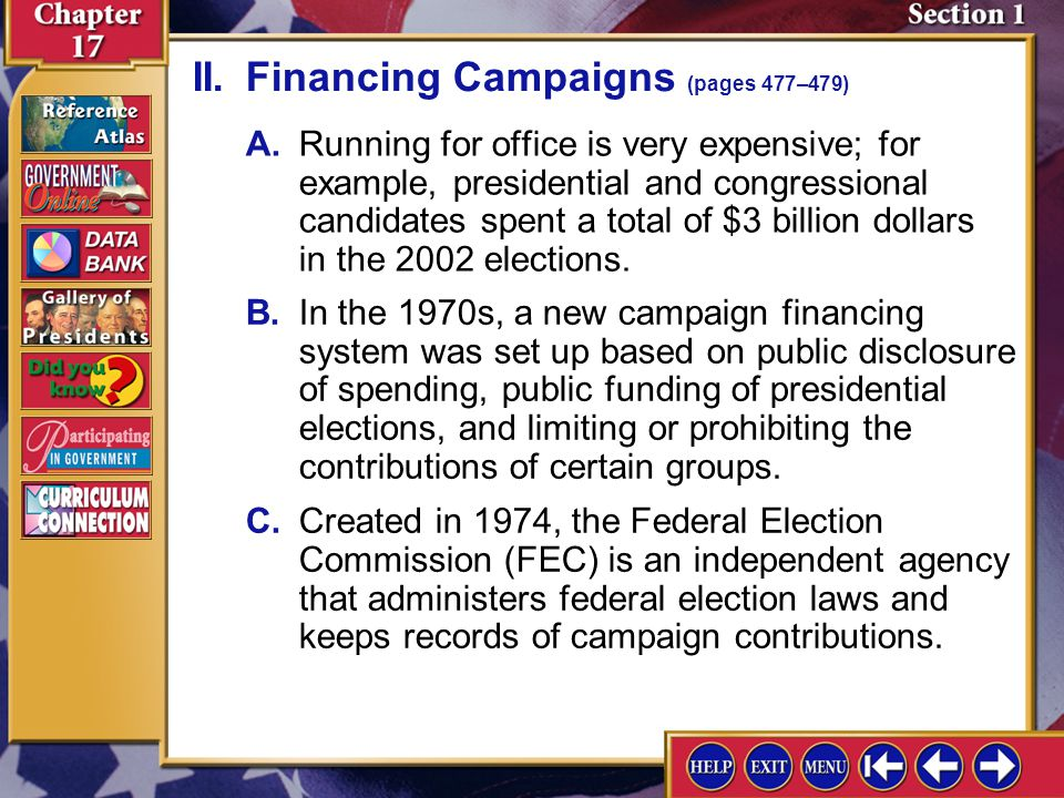 II. Financing Campaigns (pages 477–479)