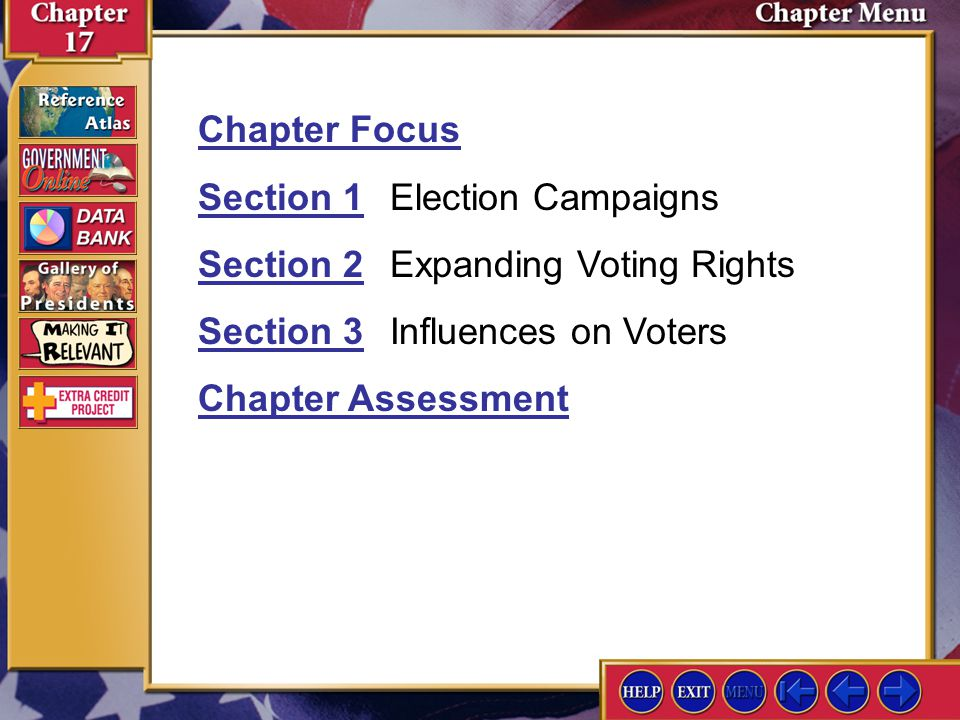 Section 1 Election Campaigns Section 2 Expanding Voting Rights