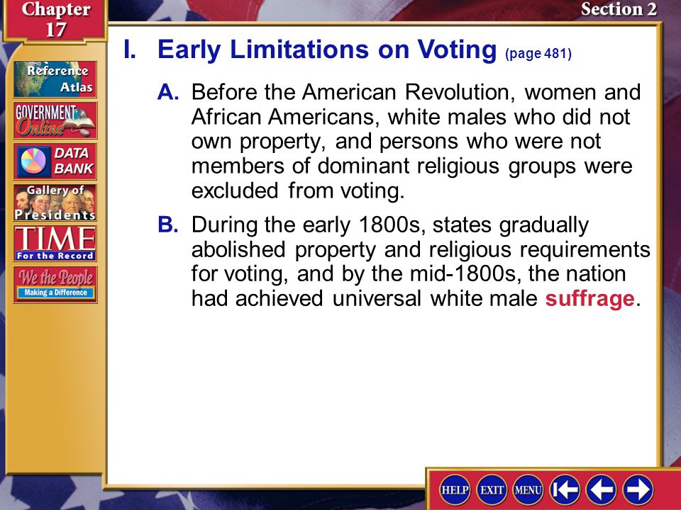 I. Early Limitations on Voting (page 481)