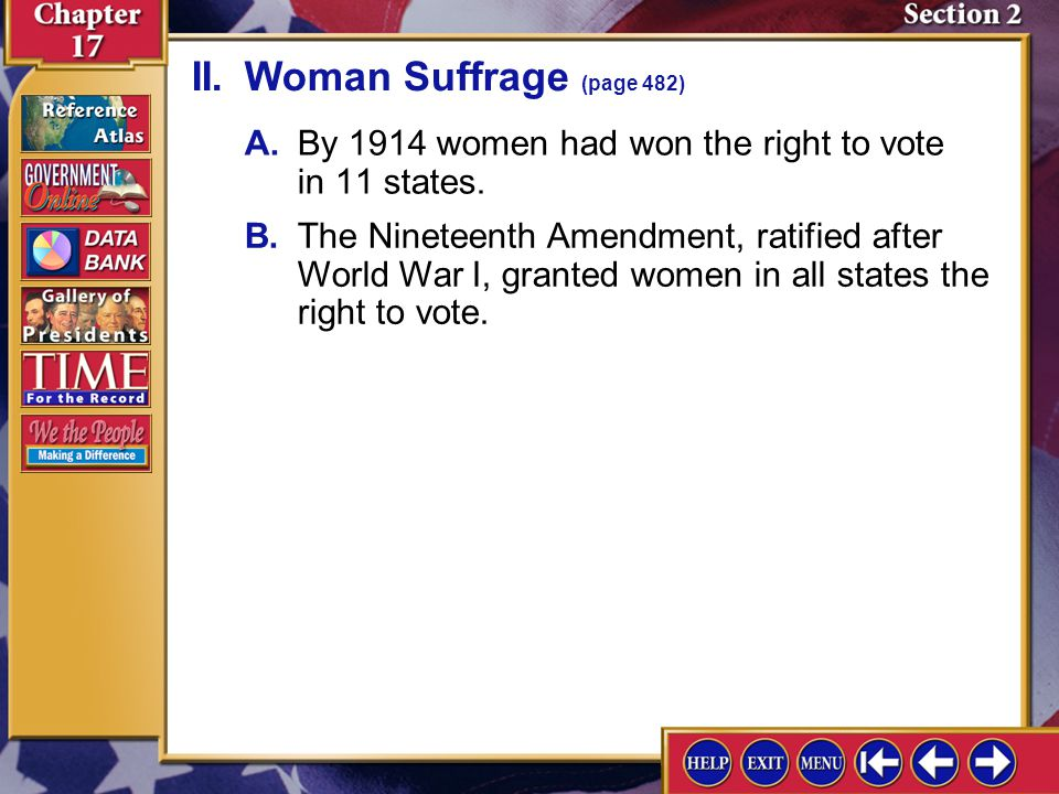 II. Woman Suffrage (page 482)