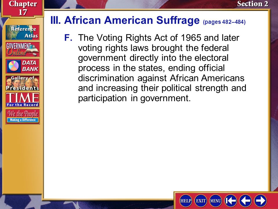III. African American Suffrage (pages 482–484)