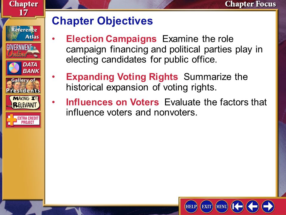 Chapter Objectives Election Campaigns Examine the role campaign financing and political parties play in electing candidates for public office.
