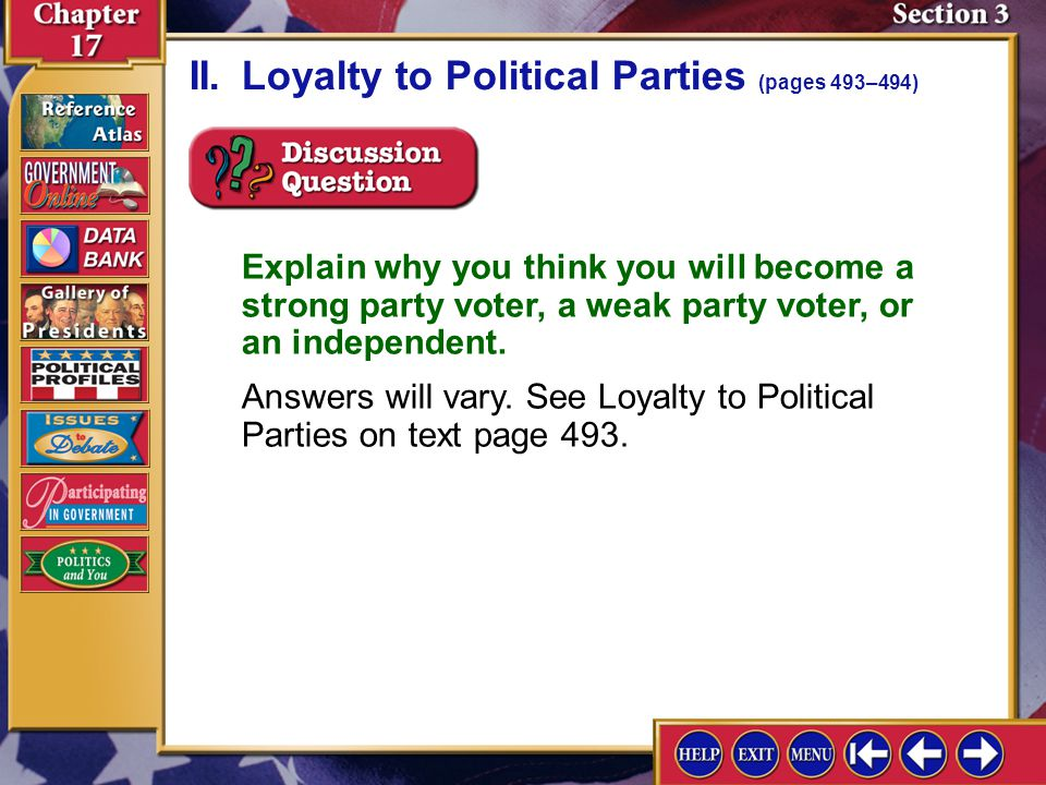 II. Loyalty to Political Parties (pages 493–494)