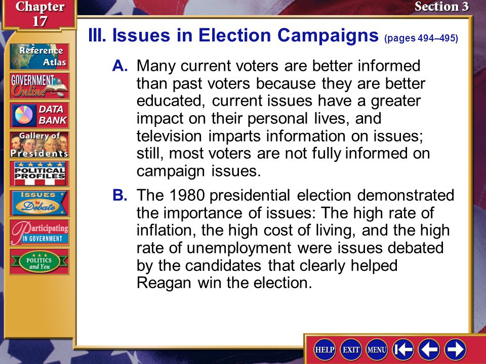 III. Issues in Election Campaigns (pages 494–495)