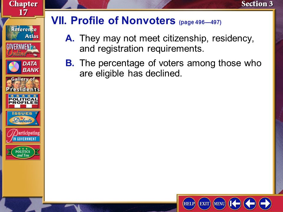 VII. Profile of Nonvoters (page 496—497)