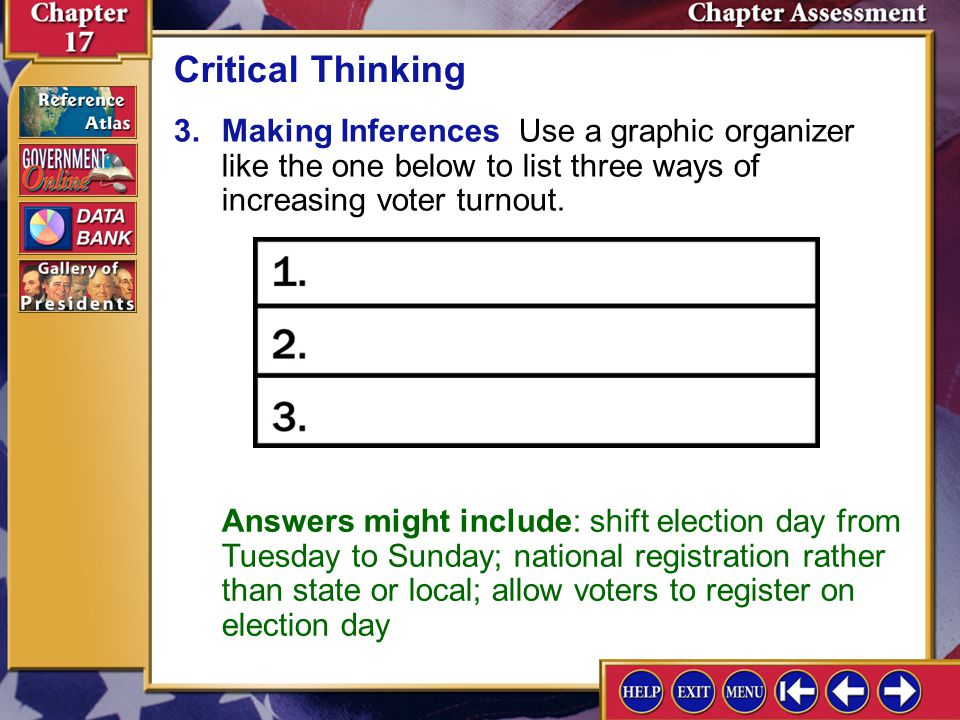 Critical Thinking 3. Making Inferences Use a graphic organizer like the one below to list three ways of increasing voter turnout.