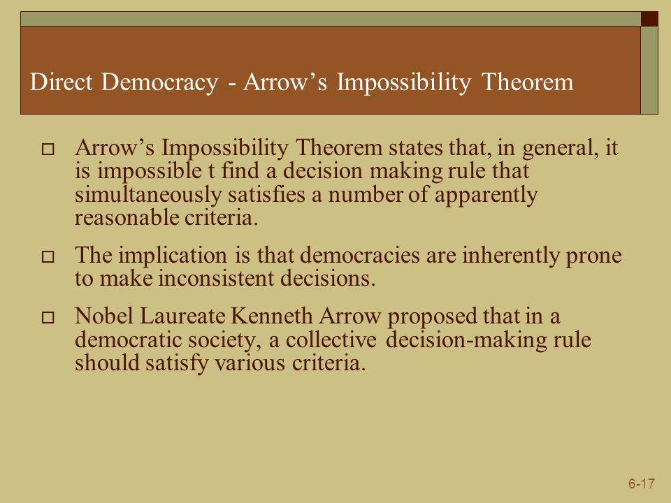 arrow s impossibility theorem Start studying arrow's impossibility theorem learn vocabulary, terms, and more with flashcards, games, and other study tools.