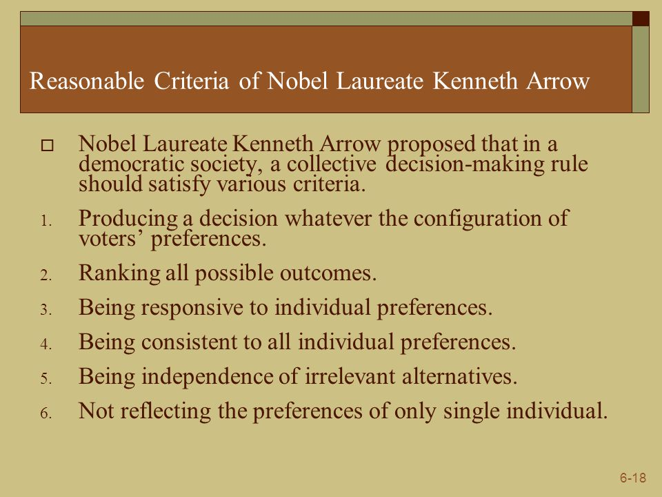 Reasonable Criteria of Nobel Laureate Kenneth Arrow